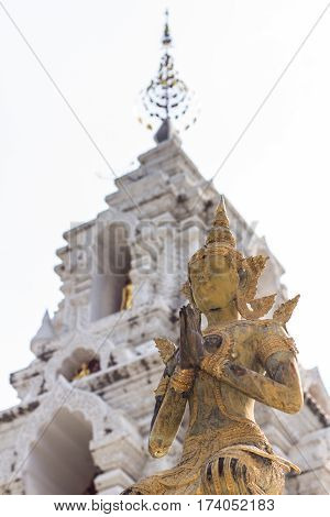 Thai angel statue in wat Banden, Chiangmai Thailand