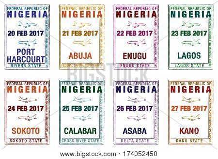 Stylised Passport Stamps Of Nigeria In Vector Format.
