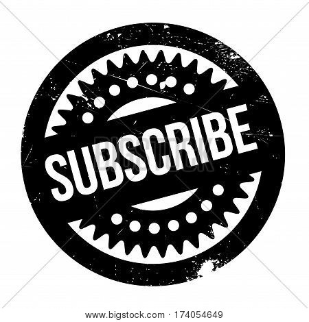 Subscribe rubber stamp. Grunge design with dust scratches. Effects can be easily removed for a clean, crisp look. Color is easily changed.