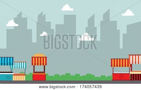 Lined street stall landscape with building background illustration