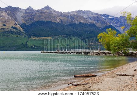 Pier on Lake Wakatipu at Glenorchy on the South Island of New Zealand