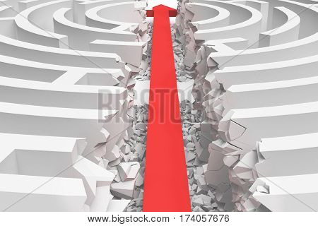 3d rendering of a white round maze in side view divided in half by a red arrow line. Mazes and labyrinths. Arrow strike. Business issues.