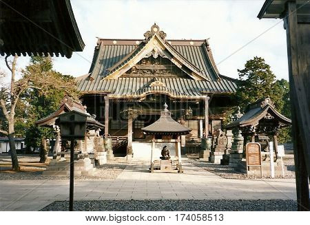 An old wooden building at the Narita-san Shinshō-ji Shingon Buddhist temple in Narita, Japan.