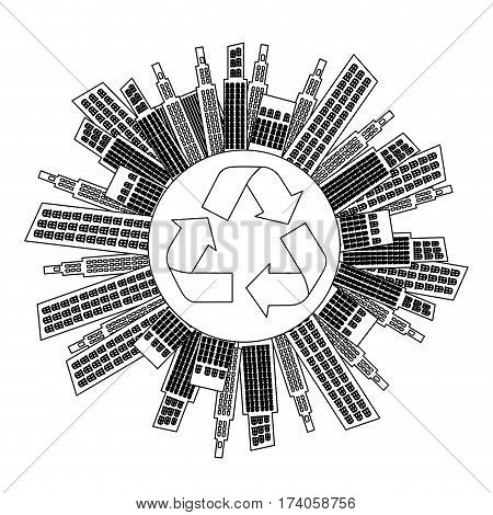figure city with build and help environment icon, vector illustraction
