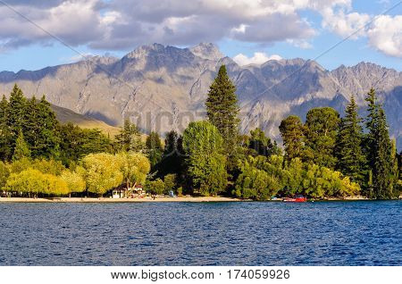 Queenstown Gardens and the beautiful mountains near Queenstown on the South Island of New Zealand