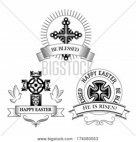 Easter symbols of cross and paschal he is risen text, be blessed for resurrection Sunday greeting card design. Vector icons of Christian catholic or orthodox church crucifix, doves and ornate ribbons
