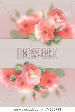 Card with shining vector flowers. Happy women's day greeting card. Postcard on March 8. Romantic floral background
