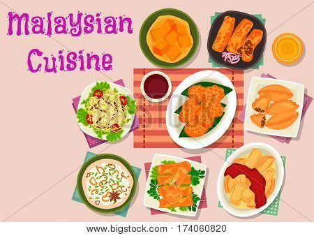Malaysian cuisine exotic dishes icon with meat seafood risotto, shrimp pancake, chicken spring rolls, meat pancake rolls, curry pies, eggplant with chilli sauce, bean sprouts salad, pumpkin dessert