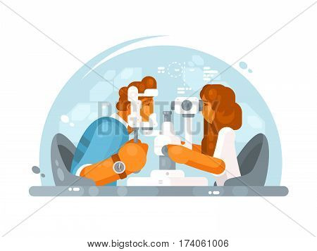 Ophthalmologist doctor woman examining patient eye with equipment. Vector illustration