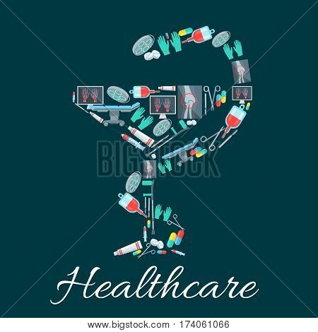 Medicine and pharmacy symbol of snake and cup, composed of pill, syringe, blood bag, capsule, surgical tool, glove, x-ray of hand, leg bones and joints, crutch, operating table and lamp cartoon icons