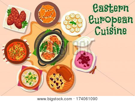 Eastern european cuisine icon of pork shank with cabbage, beef vegetable stew, beef with cream and veggies sauce, cucumber soup, meat roll with mushroom, cherry cream soup, nut cookie, stuffed apricot