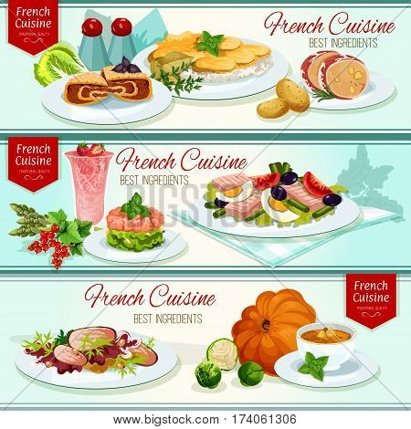 French cuisine restaurant dinner dishes banner set. Cheese potato casserole, tuna salad with tomato, olive, salmon tartare, cabbage with meat, duck salad, pumpkin soup, liver pate, fruit cream dessert