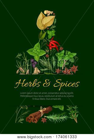 Cutting board silhouette with herbs and spices. Rosemary, mint, chilli pepper, oregano, cinnamon, basil and dill, thyme and vanilla, ginger, bay, anise, sage, cumin and marjoram for food design