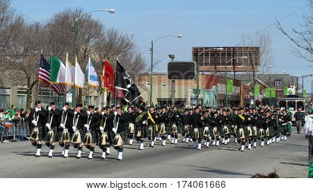 Irish bagpipers playing during the St. Patrick's Day Parade South Side in Chicago, IL, March 11th, 2012