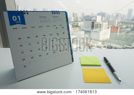 January calendar for meeting appointment with mock up postit