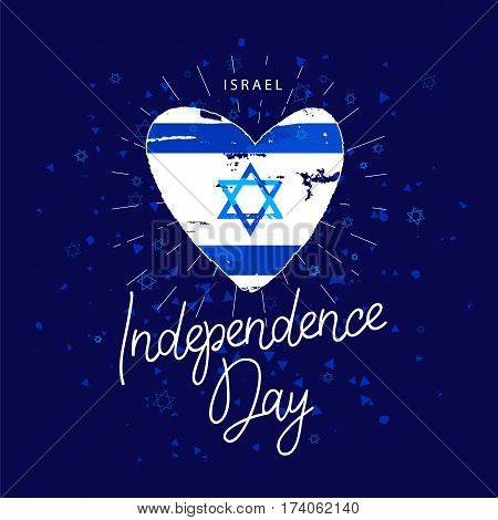 Israel. Independence Day. Flag in the shape of heart. Calligraphy and lettering. Vector illustration on a blue background. Great holiday hand-drawn gift card.
