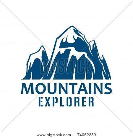 Mountains explorer icon. Extreme sports, outdoor adventure badge with mountain peak landscape. Mountain climbing, hiking, camping expedition, travel design