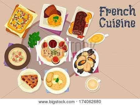 French cuisine festive dinner dishes icon of potato cheese casserole, foie gras with figs, seafood soup, vegetable pie with eggs, chicken cream soup with bacon, chocolate cake roll, prune cake