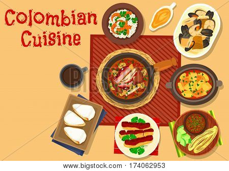 Colombian cuisine dinner icon of shrimp rice, bean stew with pork shank, tomato onion sauce with grilled banana, chicken soup with corn flatbread, seafood stew, fried pork belly, milk cake with cream