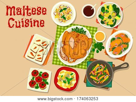 Maltese cuisine healthy food icon of baked turkey with oranges, vegetable salad, avocado pineapple salad, salmon steak, stuffed tomato with crab, vegetable saute, fruit cream dessert, carrot cake