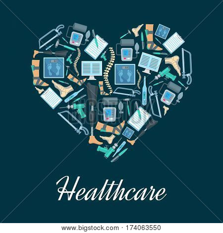 Heart made up of orthopedic medical icons. Thermometer, spine, foot bones and joints, medical check up form, scales, computer, prosthetic leg, orthopedic instrument and tool. Healthcare themes design