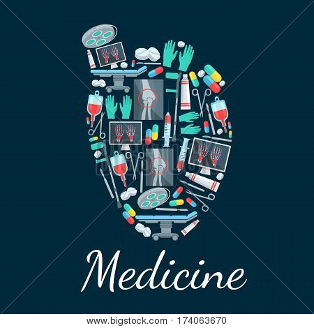 Human heart poster with pills, syringe, capsule, x-ray of leg and hand bones, surgical tool, operating table and lamp, glove, crutch. Medicine, surgery, pharmacy, healthcare themes design