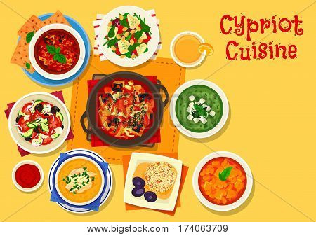 Cypriot cuisine healthy food icon of tomato olive salad with feta, grapefruit cheese salad, eggplant tomato sauce, vegetable stew, cucumber avocado soup, bean stew, bulgur pilaf, chicken rice soup