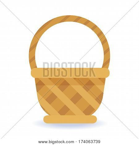 Whickered basket on a white background. Colorful illustration.