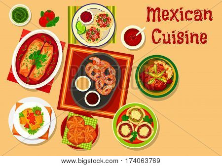Mexican cuisine pork vegetable taco icon served with salsa sauce, chicken tortilla rolls, corn flatbread with beans, grilled beef with veggies, meat pie enchiladas, sugary bread, fried cookie churro