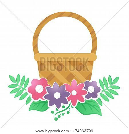 Color Basket With Flowers On A White Background.