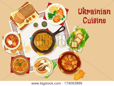 Ukrainian cuisine lunch icon with beet soup borscht, pork vegetable stew, cabbage potato pie, stuffed pepper with cheese, chicken kiev, potato pancake with mushroom, meat roll, nut bread
