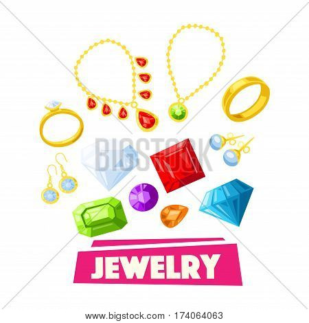 Jewelry and precious gemstone cartoon poster. Gold necklace, ring, earring, pendant, bracelet and chain with diamond, pearl, sapphire, emerald and ruby jewel. Luxury, fashion and jewelry store design