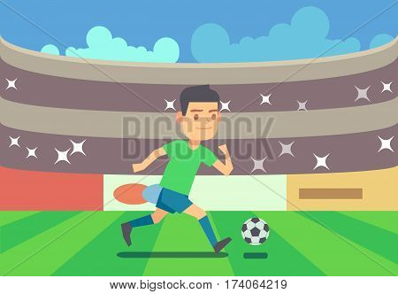 Soccer player running with ball vector illustration. Football competition game