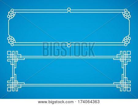 Vector korean, chinese, japanese retro frames set. Design japanese oriental ornament illustration