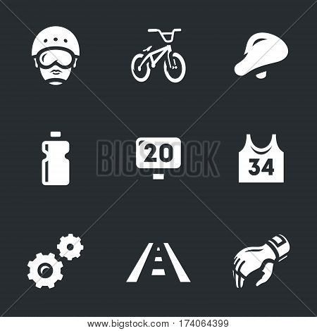 Helmet, bike, seats, bottle, sign, shirt, gear, track, glove.