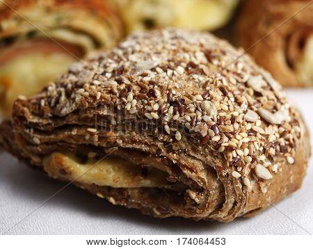 White cheese multigrain breakfast wholegrain dough crust