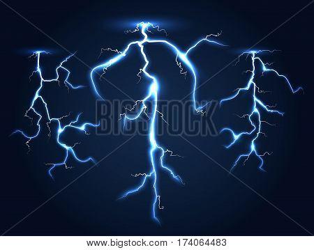 Realistic vector lightnings set dark night sky. Electric power storm illustration