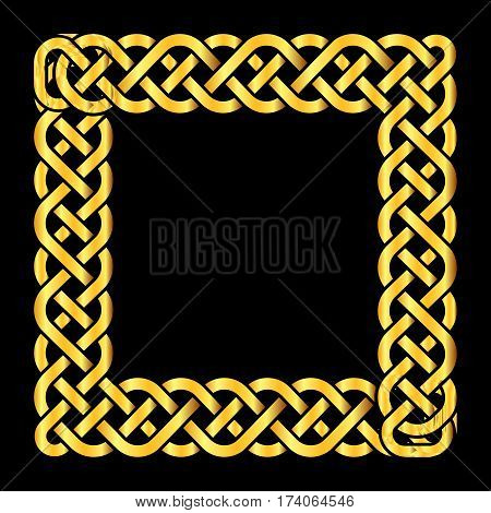 Square golden celtic knots vector frame. Decoration element isolated illustration