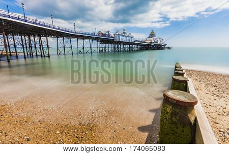 Eastbourne Pier in England daytime long exposure