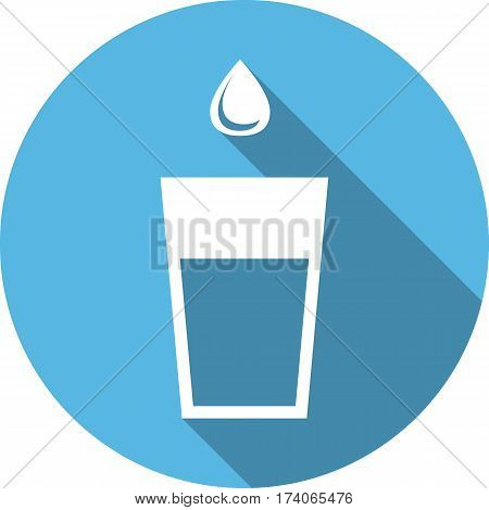 glass of water and a drop flat icon