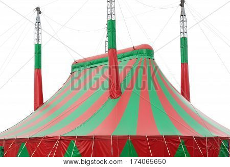 large red and green circus big top canvas on white background