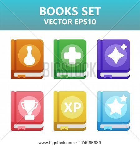 Colorful Vector Books With Gaming Symbols. Assets Set For Game Design And Web Application.