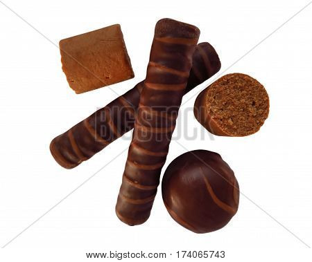 Chocolate sticks isolated on white with Clipping Path
