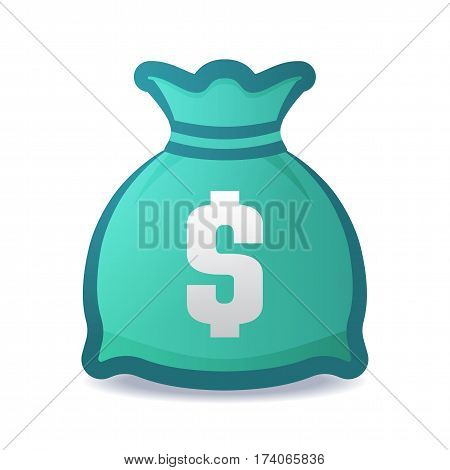Colorful Vector Illustration Money Bag With Dollar Symbol.
