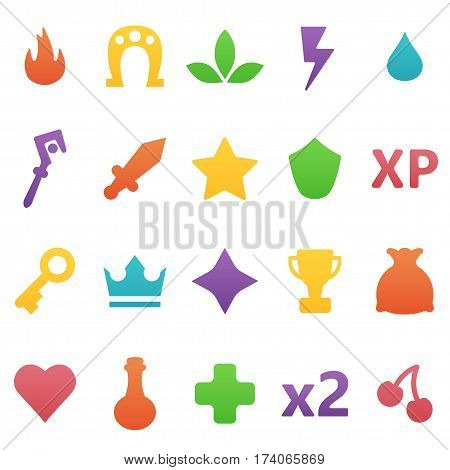 Colorful Vector Gaming Icons Set. Assets Set For Game Design And Web Application.