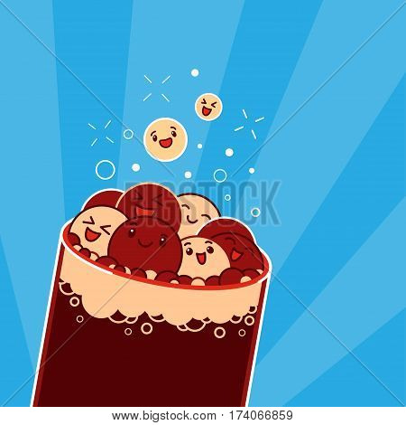 Laughing, fizzing and bursting kawaii bubbles in the glass of cola. Vector illustration. Clipping mask used.