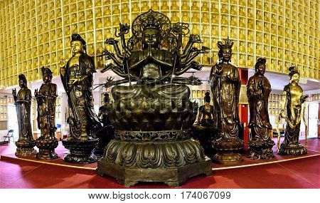 Bodhisattva statue in a temple for buddhism