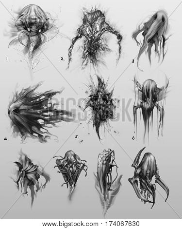digitally created vaious creature monster character concept designs