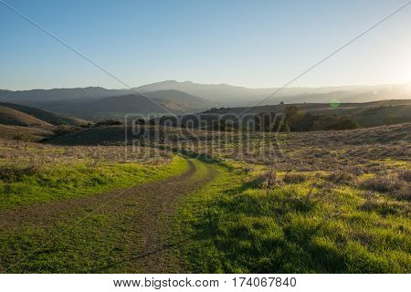 Trail At The Mountain With Sunrise