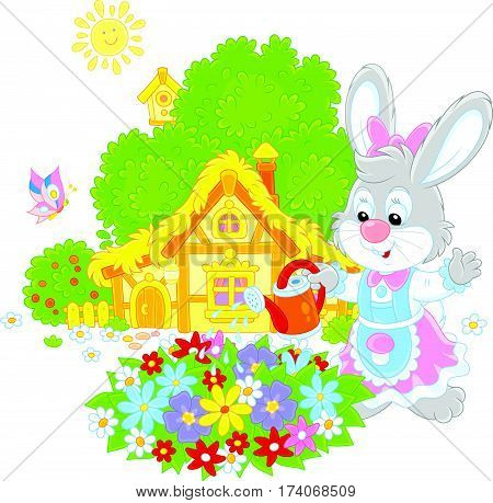 Easter Bunny watering beautiful flowers in a flowerbed in front of its farmhouse